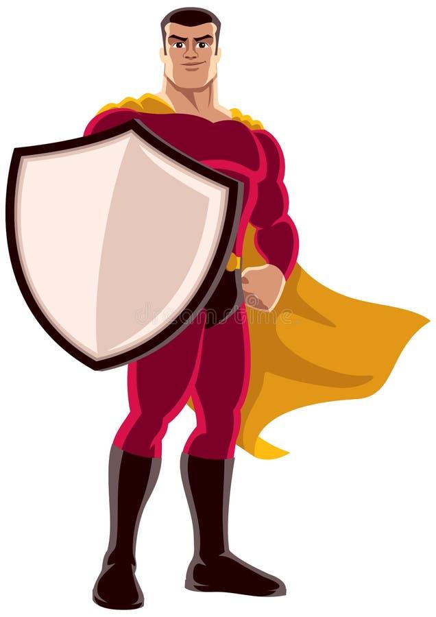 Superheld, der Schild auf weißem Hintergrund hält stock abbildung