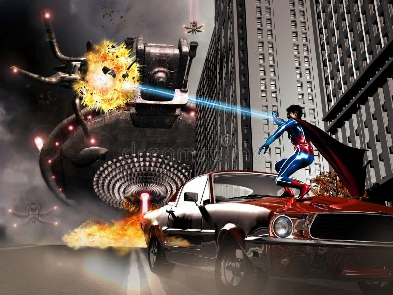 Superheld gegen Ausländer vektor abbildung