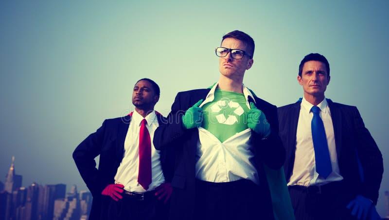 Superheld-Geschäftsmann-Umwelt-New- Yorkkonzept lizenzfreies stockfoto