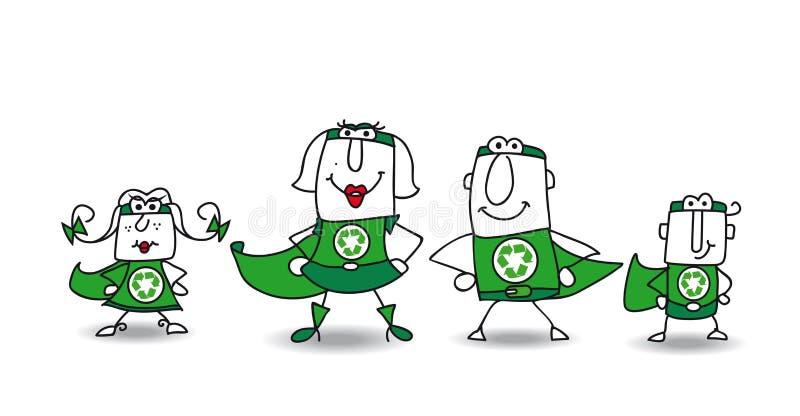 Superheld-Grün Familie stock abbildung