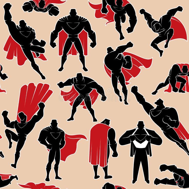 Superheld im Aktions-nahtlosen Muster vektor abbildung