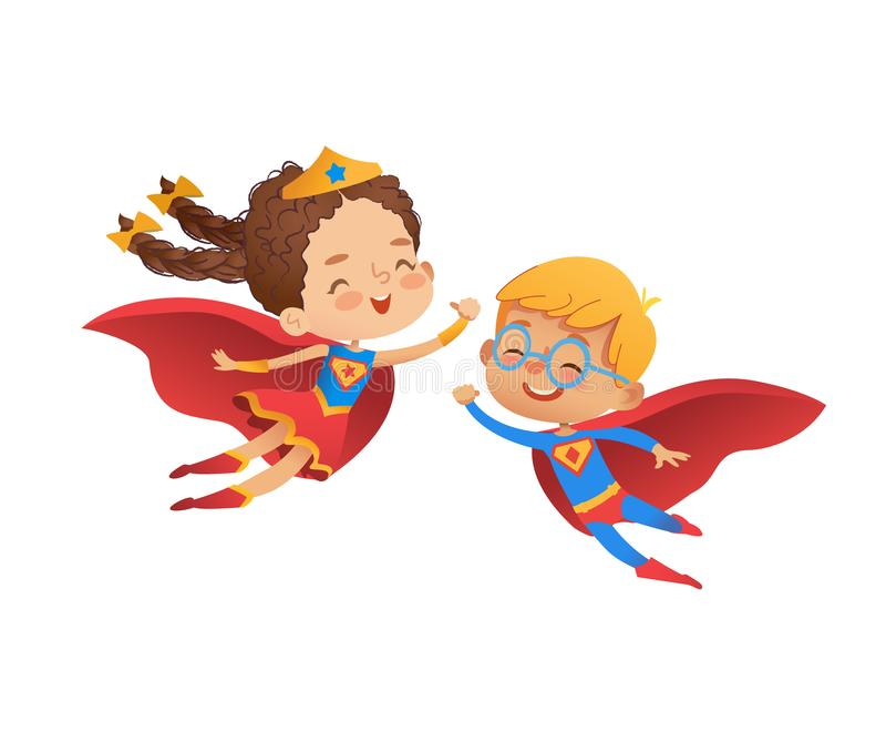 Superheld-Kinderfreund-Kostüm-Charakter Glücklicher Junge und kaukasisches Mädchenabnutzung Held-Kostüm für Kindergarten-Partei k vektor abbildung