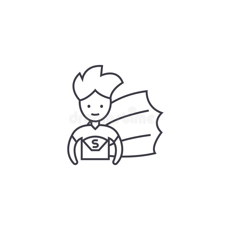 Superheld-Kindervektorlinie Ikone, Zeichen, Illustration auf Hintergrund, editable Anschläge lizenzfreie abbildung