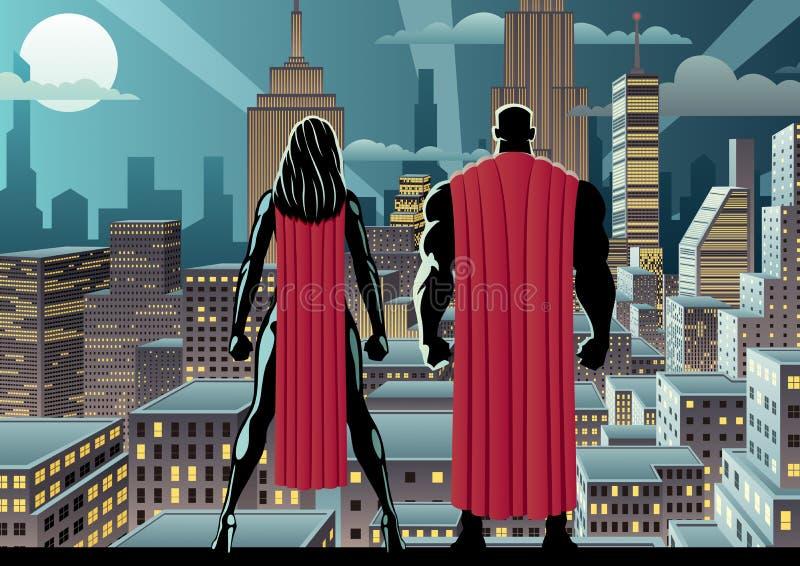Superheld-Paar-Uhr-Nacht stock abbildung