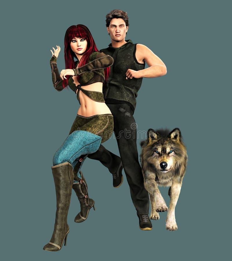 Superheld-Paare und Wolf lizenzfreie abbildung