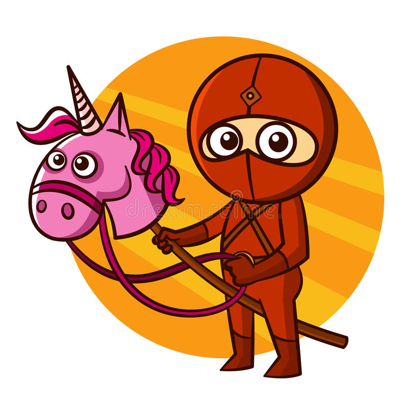 superheld rotes ninja auf dem rosa einhorn aufkleber stock