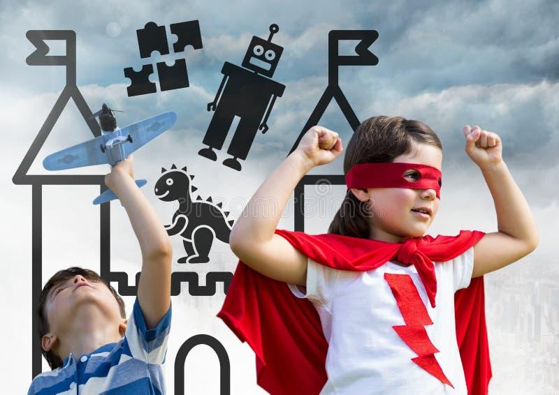 Superheld scherzt das Spielen mit Spielzeugfläche über Stadt mit Spielwarengraphiken lizenzfreie abbildung