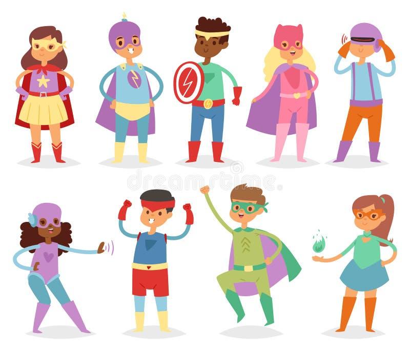 Superheld scherzt Vektorsuperheldkind oder -kind in der Maskenzeichentrickfilm-figur des Mädchens oder des Jungen im Kostüm beim  stock abbildung
