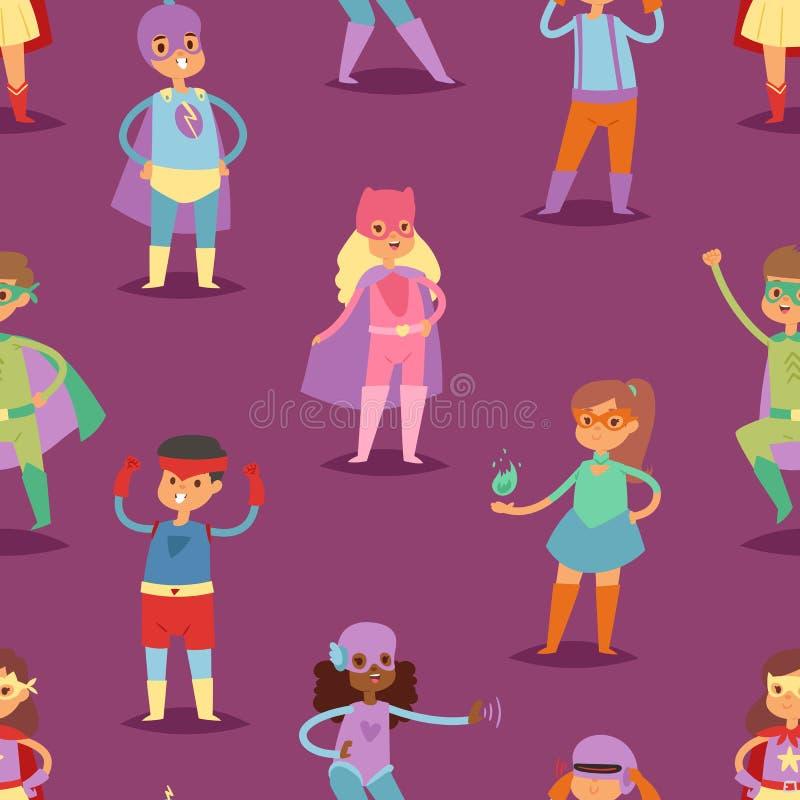 Superheld scherzt Vektorsuperheldkind oder -kind in der Maskenzeichentrickfilm-figur des Mädchens oder des Jungen im Kostüm beim  vektor abbildung