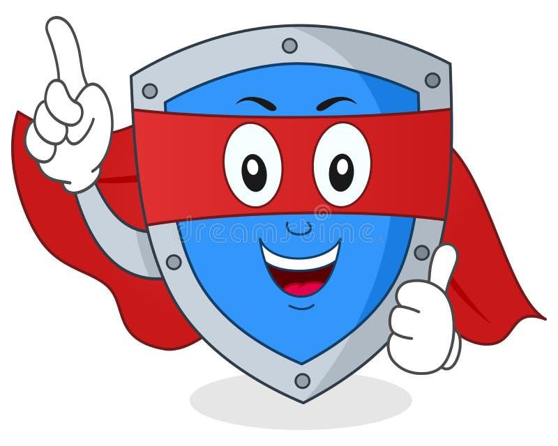 Superheld-Sicherheits-Schild-Charakter lizenzfreie abbildung