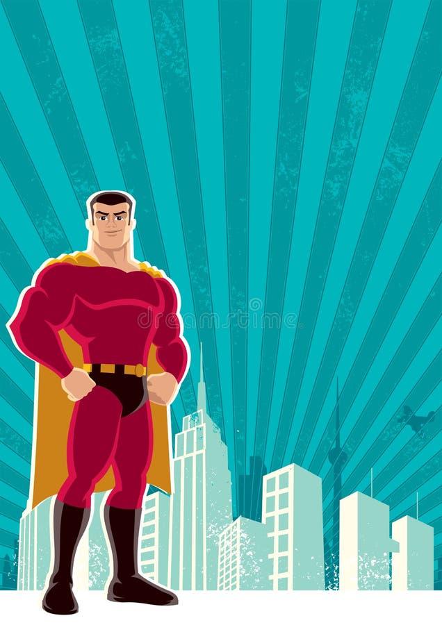 Superheld-Stadt lizenzfreie abbildung