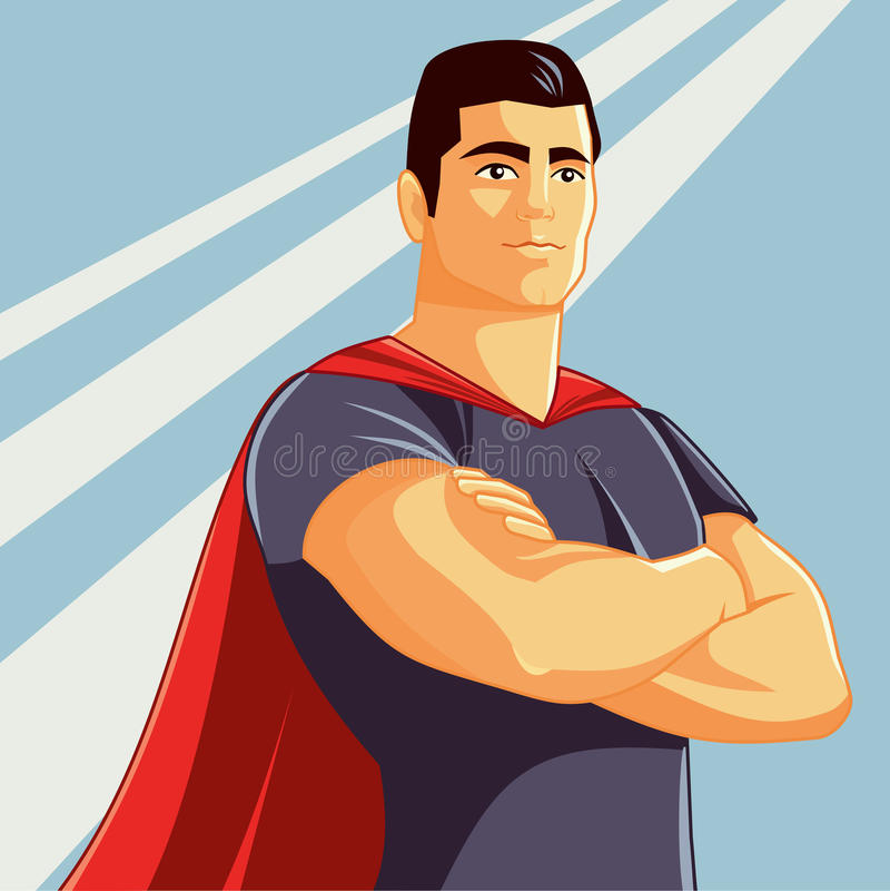 Superheld-Vektor-Illustration in der Comics-Art vektor abbildung