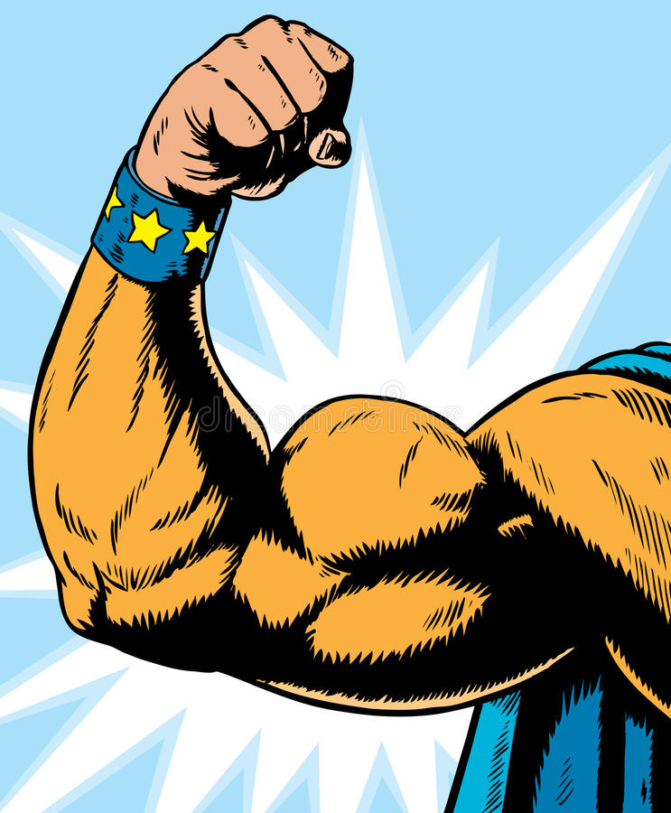 Superheldarmbiegen. stockbild