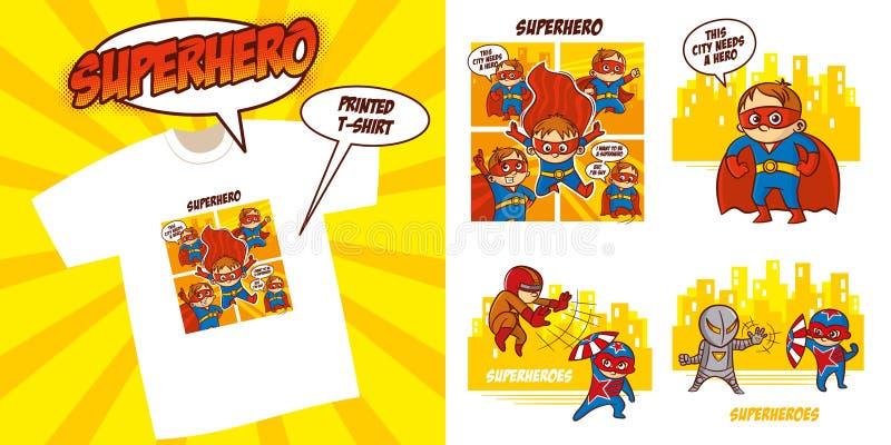 Superheldcharakter Superhelden eingestelltes Vektor-Illustrationsdesign lizenzfreie abbildung