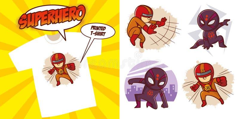 Superheldcharakter Superhelden eingestelltes Vektor-Illustrationsdesign vektor abbildung