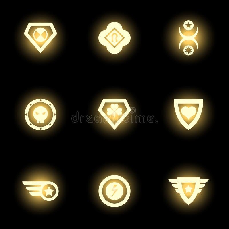 Superheldemblem, -logo oder -ikonen auf schwarzem Hintergrund lizenzfreie abbildung