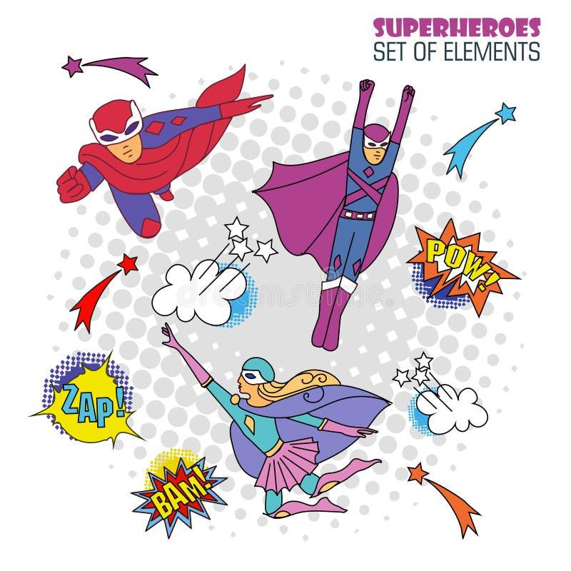 Superhelden in der komischen Art lizenzfreie abbildung