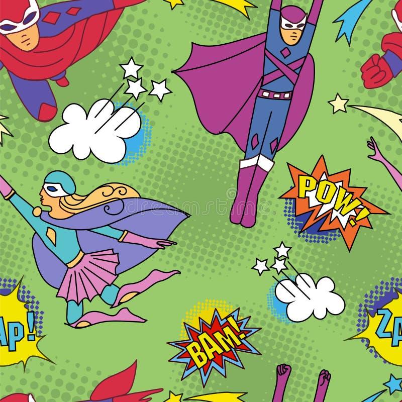 Superhelden in komischer Art 2 stock abbildung