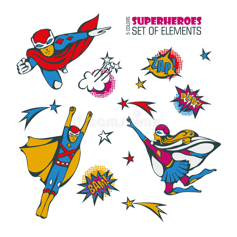 Superhelden in komischer Art 3 lizenzfreie abbildung