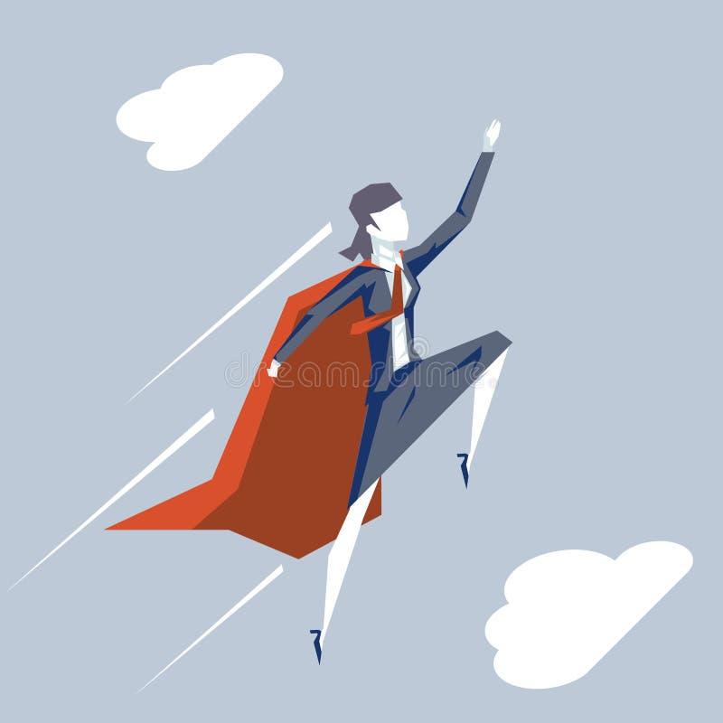 Superheldfördermaschinenfliege herauf des Himmelhintergrundgeschäftskonzeptes der FrauenGeschäftsfrau-Führerweiblichen figur flac vektor abbildung