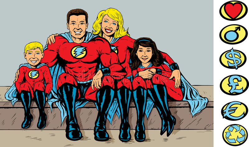 Superheldfamilie lizenzfreie abbildung