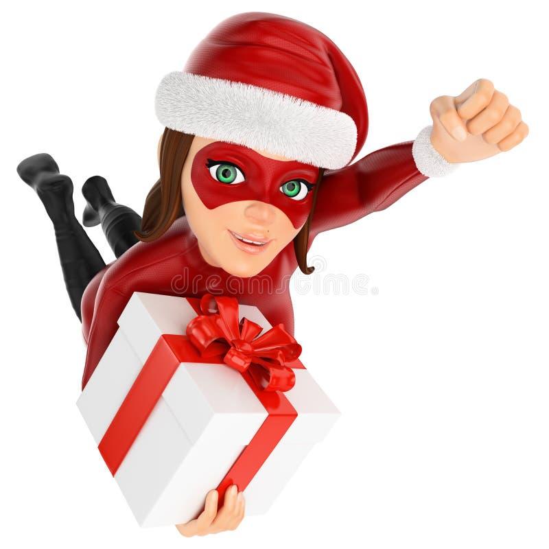 Superheldfliegen der Frau 3D Weihnachtsmit einem Geschenk stock abbildung