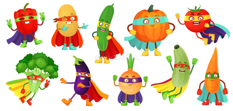 Superheldgem?se Supergurke, Heldmaske auf K?rbis und Gem?senahrung mit Superheldmantel-Karikaturvektor vektor abbildung