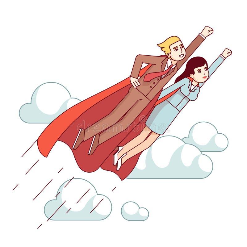 SuperheldGeschäftsmann und Frau, die schnell fliegen lizenzfreie abbildung