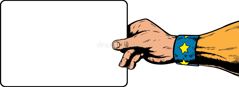 Superheldhand, die ein Zeichen anhält. lizenzfreie abbildung