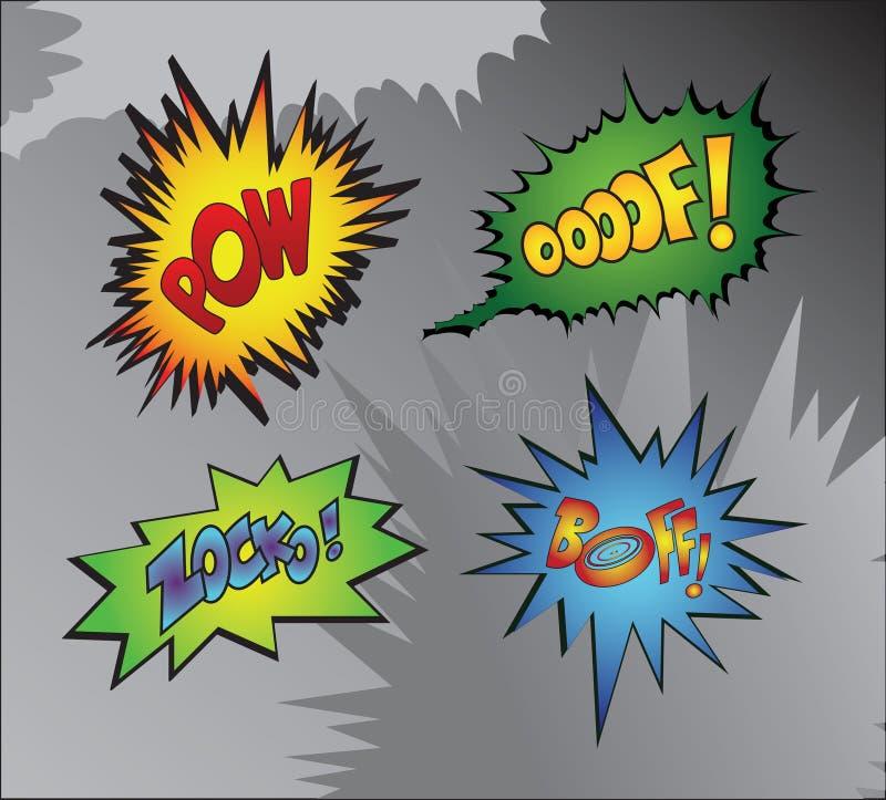 Superheldheftig schlagen lizenzfreie abbildung