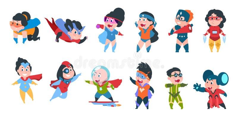 Superheldkinder Jungen und M?dchen in den komischen Superheldkost?men f?r Partei, nette Kinder, die bunte Kost?me tragen Vektor stock abbildung