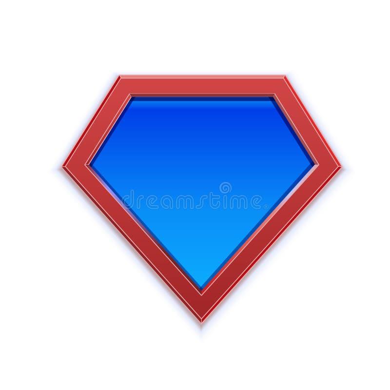 Superheldlogo oder Ikonenschablone für Webdesign oder Druck im Vektor Ausweissupermächte für Kleidung lizenzfreie abbildung