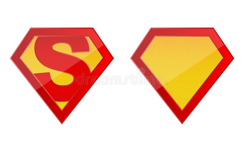 Superheldlogoschablonenvektor-Entwurfsillustration lokalisiert auf weißem Hintergrund lizenzfreie abbildung
