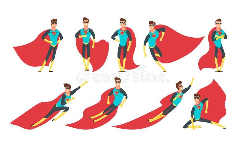 Superheldmann in den verschiedenen Haltungen Karikatursuperheld-Vektorcomicfiguren eingestellt lizenzfreie abbildung