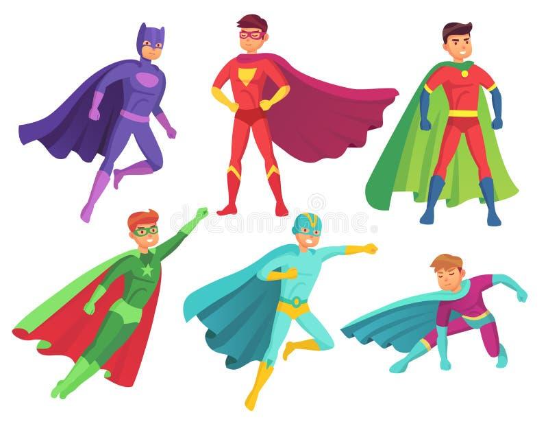 Superheldmanncharaktere Muskulöser Heldcharakter der Karikatur im bunten Superkostüm mit wellenartig bewegendem Mantel flugwesen stock abbildung