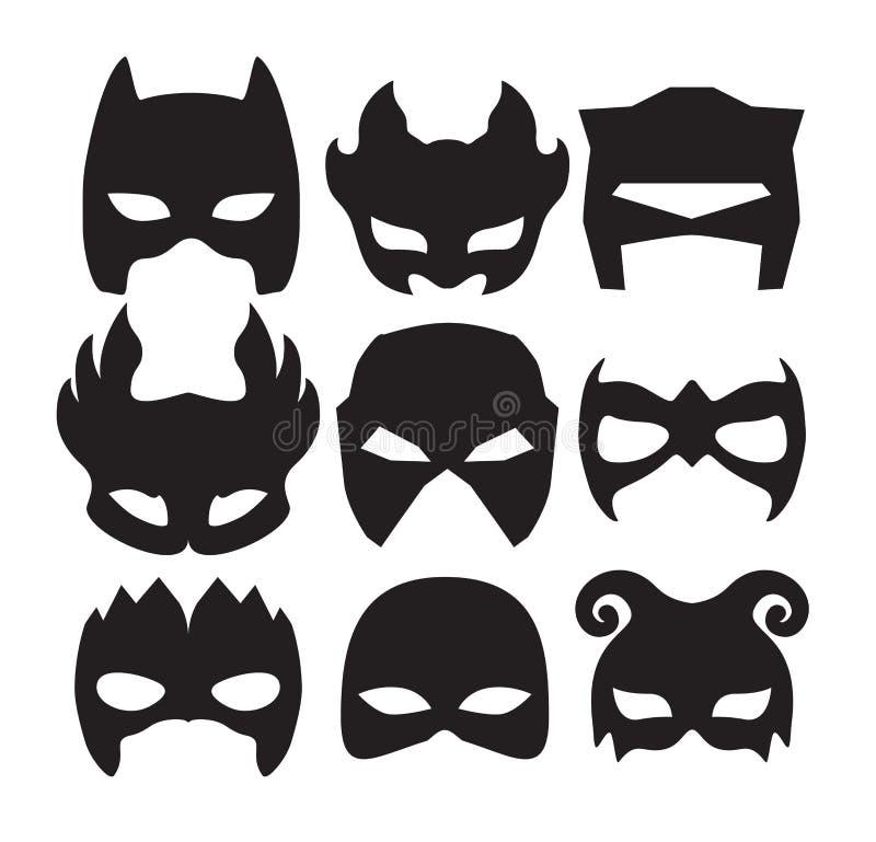 Superheldmasken für Gesichtscharakter im Schwarzen Schattenbildmaske auf Weiß vektor abbildung
