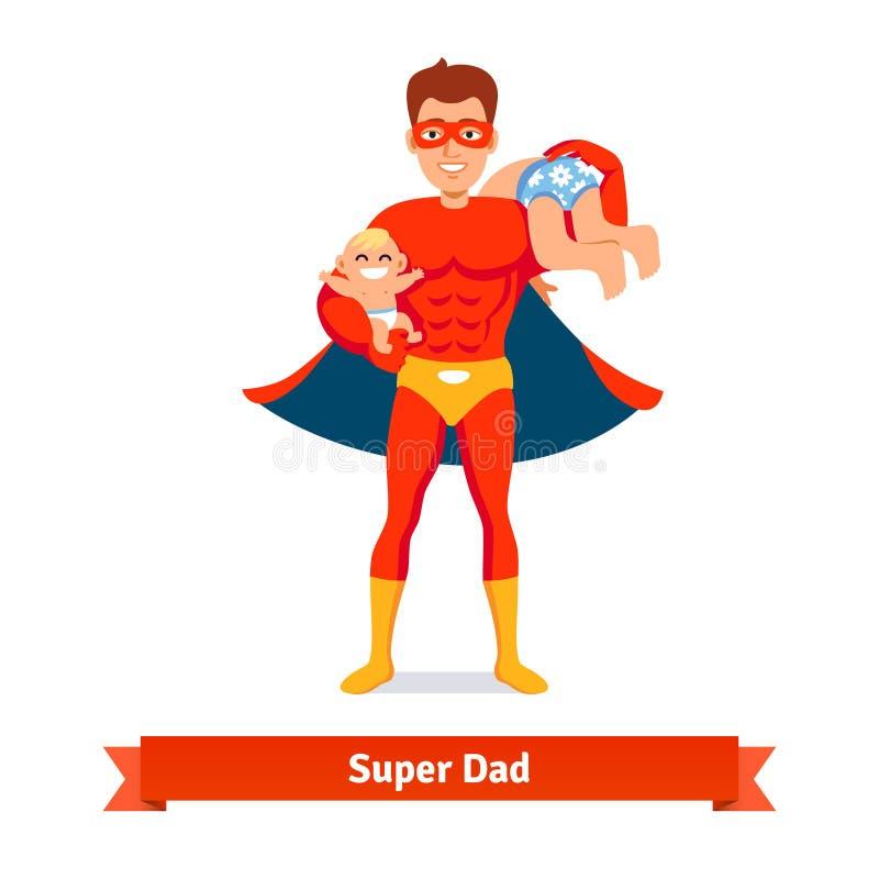 Superheldvati Vater, der um zwei Söhnen sich kümmert vektor abbildung
