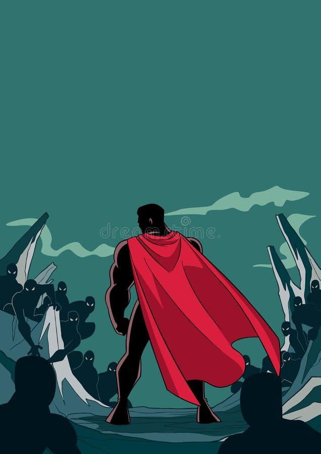 Superhero έτοιμο για τη σκιαγραφία μάχης διανυσματική απεικόνιση
