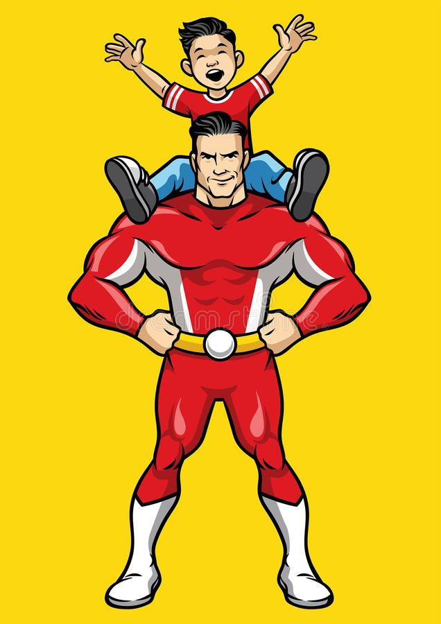 Superhero και παιδί απεικόνιση αποθεμάτων