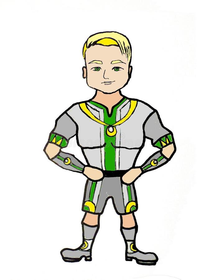 Superhero με την ισχυρή χειρονομία Σχέδιο χαρακτήρα απεικόνιση αποθεμάτων
