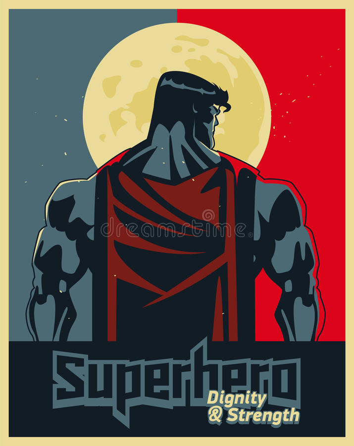 Superhero πίσω στο σεληνόφωτο Μπλε και κόκκινη γραφική αφίσα ελεύθερη απεικόνιση δικαιώματος