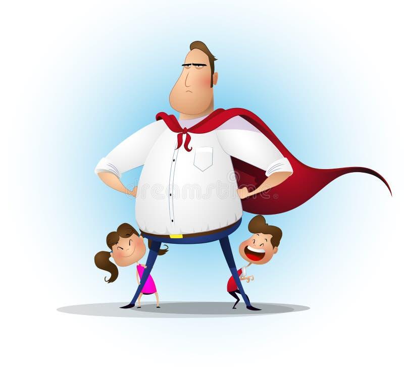 Superhero παιχνιδιού κορών και γιων πατέρων στο χρόνο ημέρας ελεύθερη απεικόνιση δικαιώματος