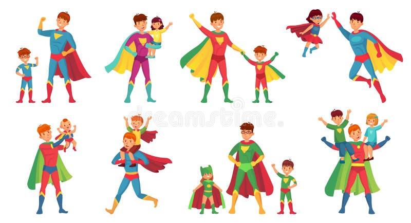 Superhero πατέρων κινούμενων σχεδίων Ευτυχής ημέρα πατέρων, έξοχος γονέας με τα παιδιά και διανυσματικό σύνολο απεικόνισης μπαμπά ελεύθερη απεικόνιση δικαιώματος