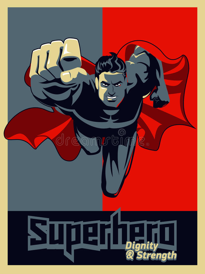 Superhero πετάγματος στη κάμερα Κόκκινος γραφικός απεικόνιση αποθεμάτων