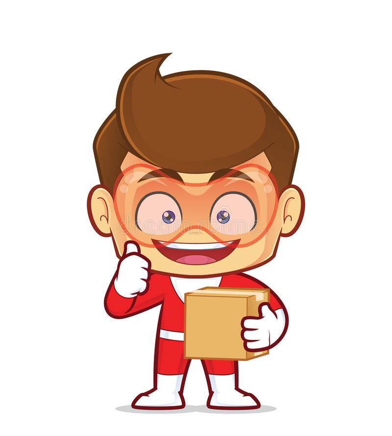 Superhero που φέρνει ένα κιβώτιο απεικόνιση αποθεμάτων