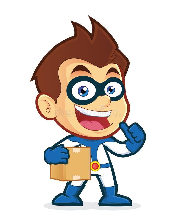 Superhero που φέρνει ένα κιβώτιο διανυσματική απεικόνιση