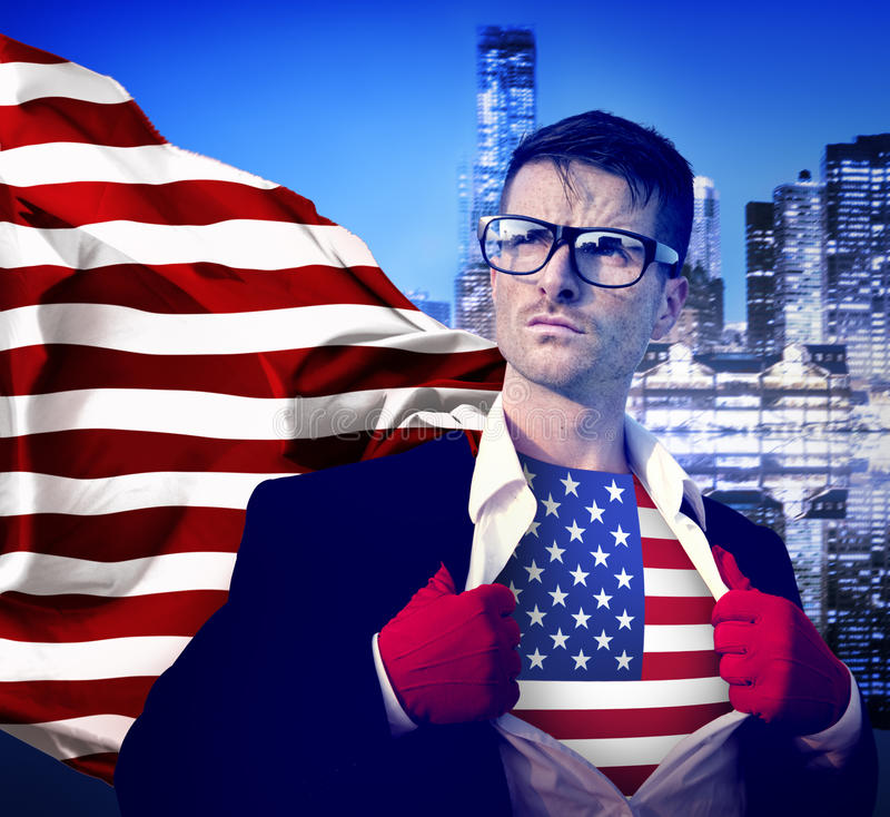 Superhero American Conquering Leadership Concept.  stock photo