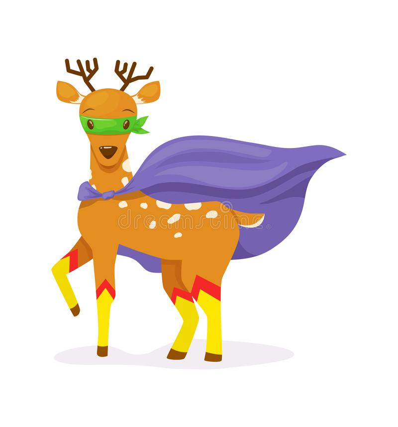 Superhero animal kids with a superhero cape and masks. Brown deer character in super hero costume vector illustration isolated vector illustration