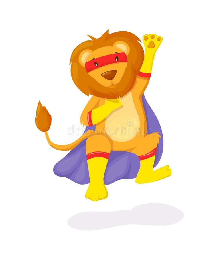 Superhero animal kids with a superhero cape and masks. Cute lion character in super hero costume vector illustration isolated stock illustration