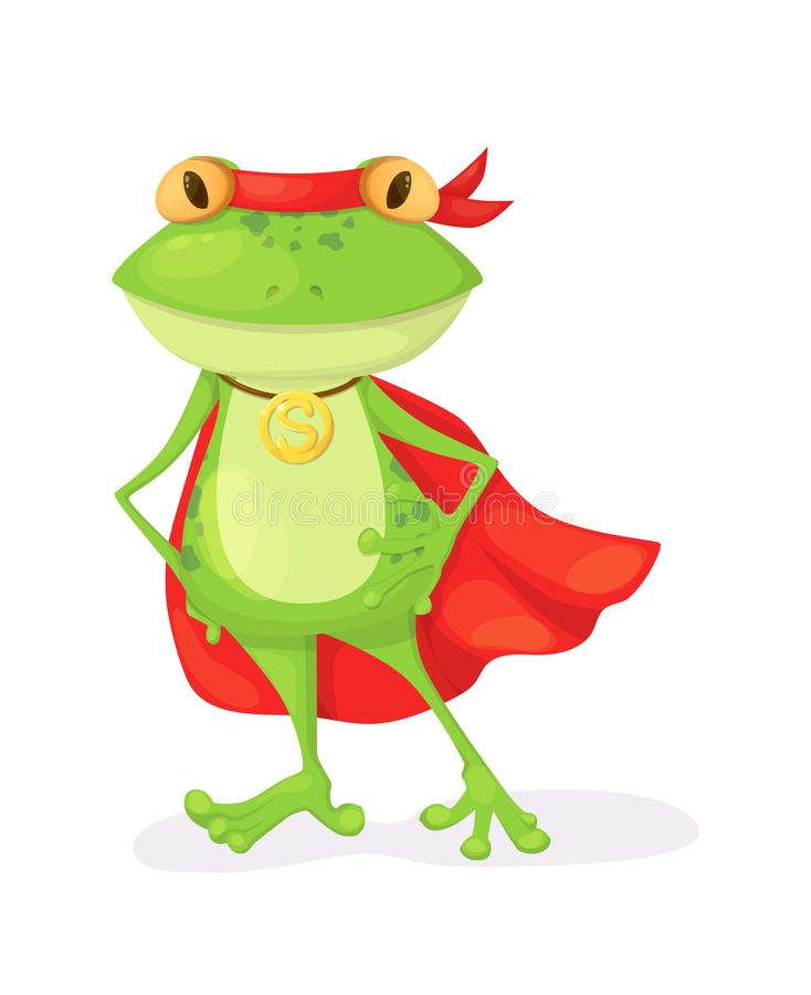 Superhero animal kids with a superhero cape and masks. Green frog character in super hero costume vector illustration isolated royalty free illustration